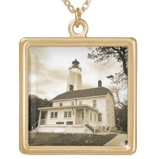 Sandy Hook Lighthouse Gold Plated Necklace