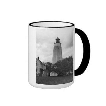 Ocean Themed Sandy Hook Lighthouse Ringer Mug