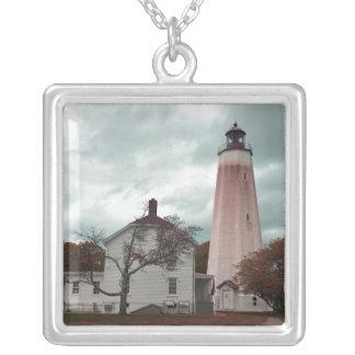 Sandy Hook Lighthouse Silver Plated Necklace