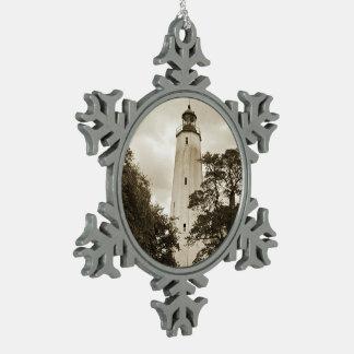 Sandy Hook Lighthouse Snowflake Pewter Christmas Ornament