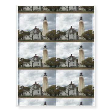 Beach Themed Sandy Hook Lighthouse Temporary Tattoos