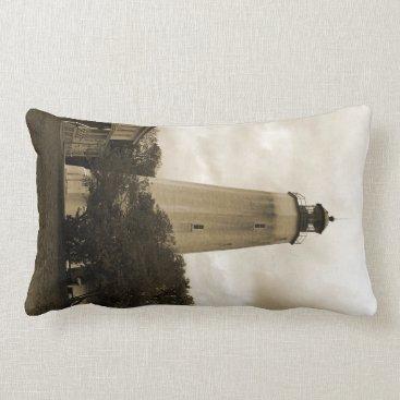Ocean Themed Sandy Hook Lighthouse Throw Pillow