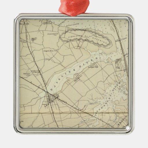 Sandy Hook to Shark River Coast Chart Map Metal Ornament