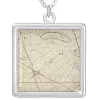 Sandy Hook to Shark River Coast Chart Map Silver Plated Necklace