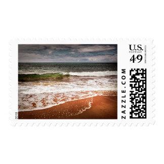 Sandy ocean beach stamp
