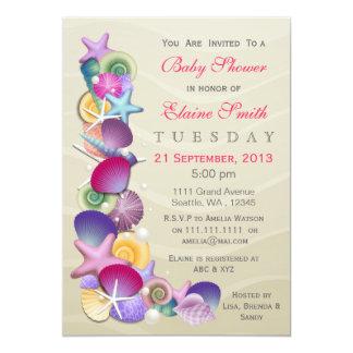 sandy ocean theme Pink Baby shower Invites