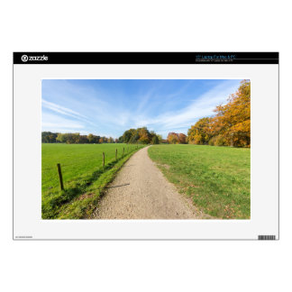 """Sandy path between green meadows with fall colors decal for 15"""" laptop"""