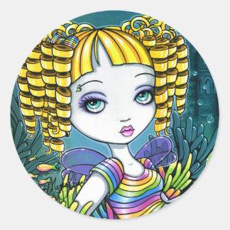 """""""Sandy"""" Rainbow Sea Turtle Mermaid Art Stickers"""