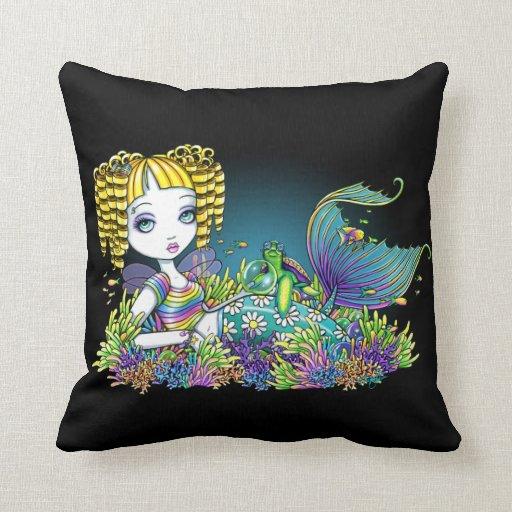 Sandy Rainbow Tropical Mermaid Throw Pillow