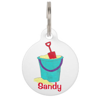 Sandy Sand Bucket Beach Toys Shovel Dog Pet Tag