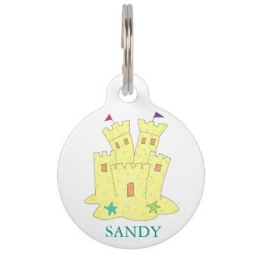 Sandy Sandcastle Starfish Beach Castle Dog Pet Tag
