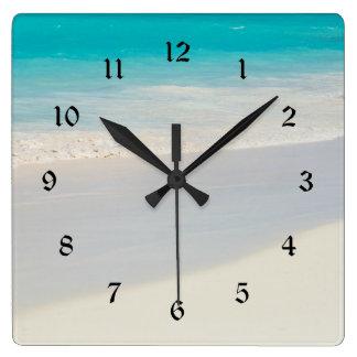 Sandy shore square wall clock
