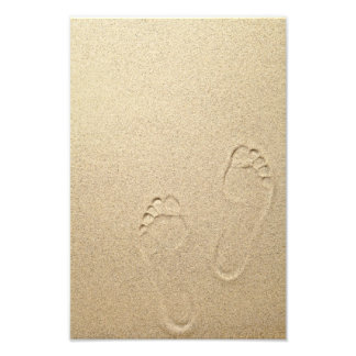 Sandy Summer Beach Background With Footprints Photo Print
