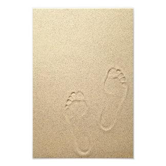 Sandy Summer Beach Background With Footprints Photo Art