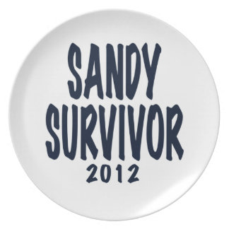 SANDY SURVIVOR 2012, black,Sandy survivor gifts Dinner Plates