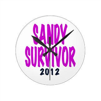 SANDY SURVIVOR 2012 chartreus Sandy survivor gifts Wall Clocks