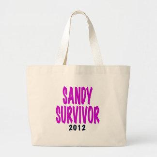 SANDY SURVIVOR 2012 chartreus Sandy survivor gifts Large Tote Bag