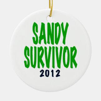SANDY SURVIVOR, green, Sandy survivor gifts Ceramic Ornament