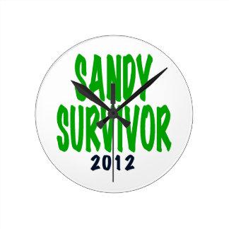 SANDY SURVIVOR, green, Sandy survivor gifts Round Wall Clocks