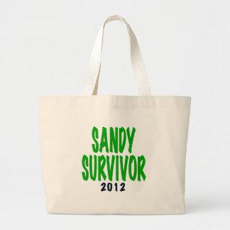 SANDY SURVIVOR, green, Sandy survivor gifts Large Tote Bag