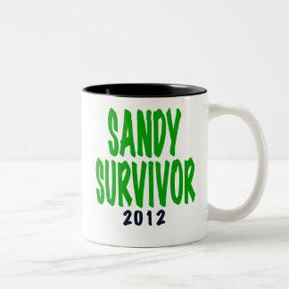 SANDY SURVIVOR, green, Sandy survivor gifts Two-Tone Coffee Mug
