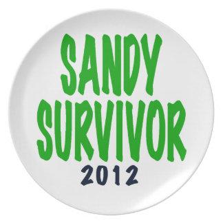 SANDY SURVIVOR, green, Sandy survivor gifts Dinner Plates