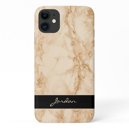 Sandy Tan Polished Marble Stone with Name iPhone 11 Case
