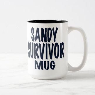 "Sandy, Text reads, ""SANDY SURVIVOR MUG"" Two-Tone Coffee Mug"