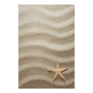 Sandy Texture For Background With Starfish Poster