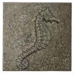Sandy Textured Seahorse Photograph Ceramic Tiles