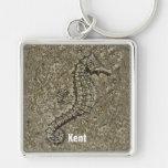 Sandy Textured Seahorse Photograph Keychains