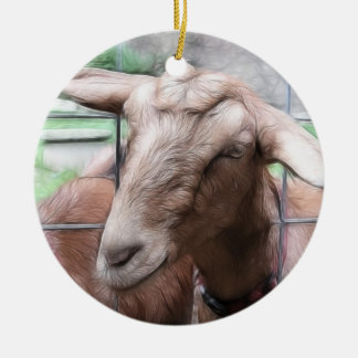 Sandy The Goat At The Gate Ceramic Ornament