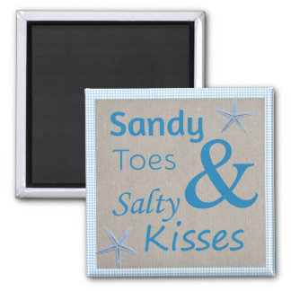 Sandy Toes and Salty Kisses Beach Life Quote 2 Inch Square Magnet