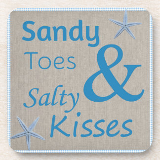 Sandy Toes and Salty Kisses Beach Life Quote Drink Coaster