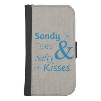 Sandy Toes and Salty Kisses Beach Life Quote Galaxy S4 Wallet Case