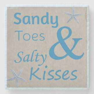 Sandy Toes and Salty Kisses Beach Life Quote Stone Beverage Coaster
