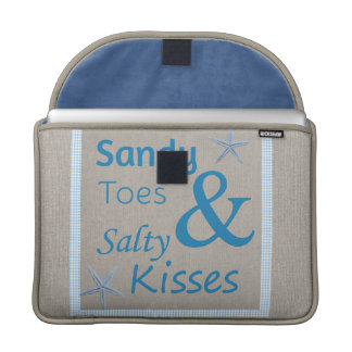Sandy Toes and Salty Kisses Beach Life Quote MacBook Pro Sleeve