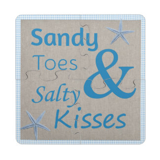 Sandy Toes and Salty Kisses Beach Life Quote Puzzle Coaster