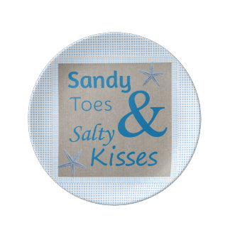 Sandy Toes and Salty Kisses Beach Life Quote Plate