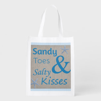 Sandy Toes and Salty Kisses Beach Life Quote Reusable Grocery Bag