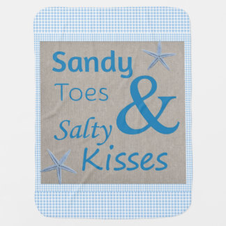 Sandy Toes and Salty Kisses Beach Life Quote Stroller Blanket