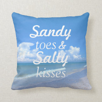 Sandy Toes And Salty Kisses Throw Pillow