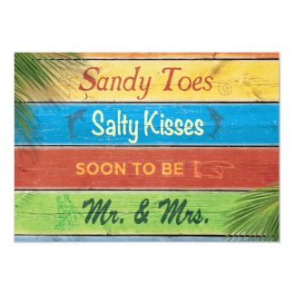 """Sandy Toes Salty Kisses Couple's Shower Invitation 5"""" X 7"""" Invitation Card"""