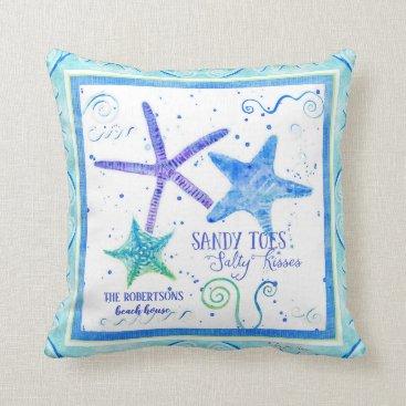 Beach Themed Sandy toes Salty Kisses Starfish Beach Ocean Sea Throw Pillow
