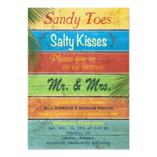 "Sandy Toes Salty Kisses Wedding Invitation 5"" X 7"" Invitation Card"