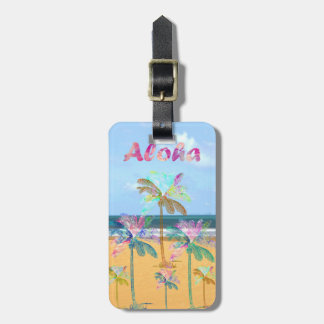 Sandy tropical beach watercolor palm trees tag for luggage