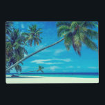 """Sandy White Beach with Tropical Palm Trees Placemat<br><div class=""""desc"""">A placemat with a tropical themed photo featuring coconut palms stretching out across a secluded white sandy beach. Turquoise waters and an azure blue sky in the background.</div>"""