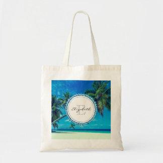Sandy White Beach with Tropical Palms Monogram Tote Bag