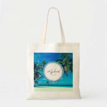 Beach Themed Sandy White Beach with Tropical Palms Monogram Tote Bag