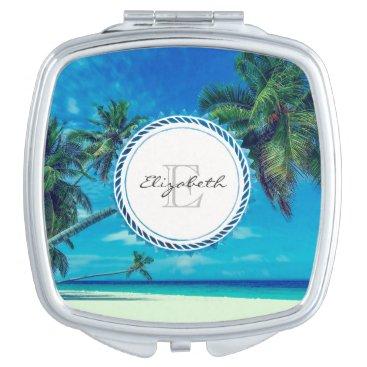 Beach Themed Sandy White Beach with Tropical Palms Monogram Vanity Mirror